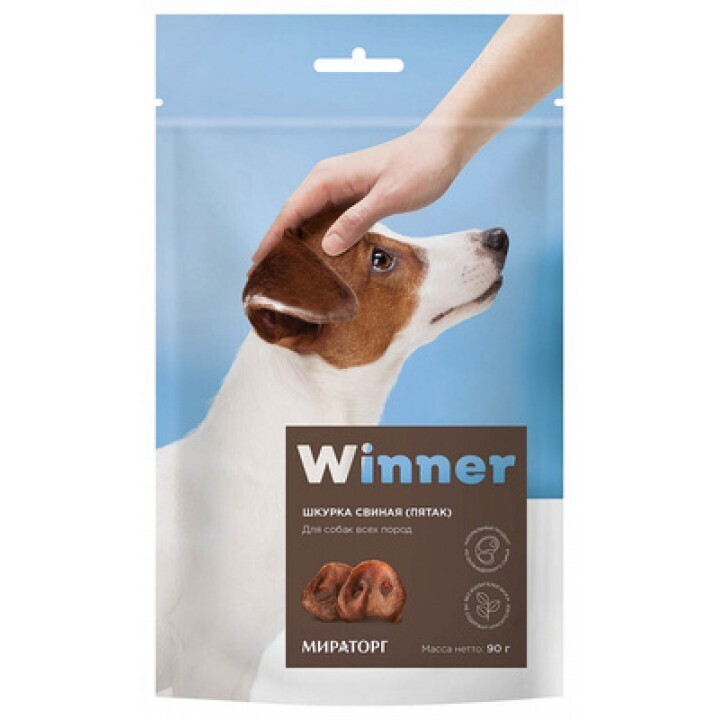 Winner лакомство для взрослых собак всех пород, шкурка свиная (пятак) 90 гр