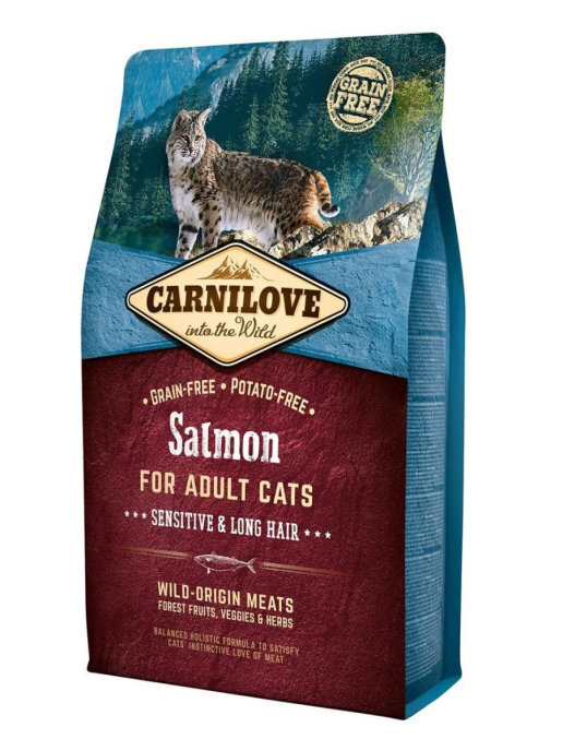 Carnilove 2кг Salmon for Adult Cats – Sensitive & Long Hair дк лосось