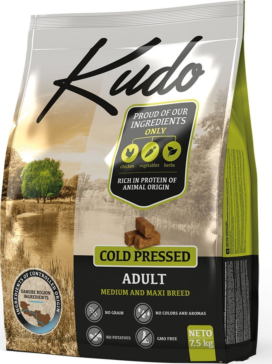 [110.0600]  KUDO сухой корм 2.5 кг для взр. собак средн. и крупн. пород, цыпленок, Сербия (уп-8шт), 110.0600