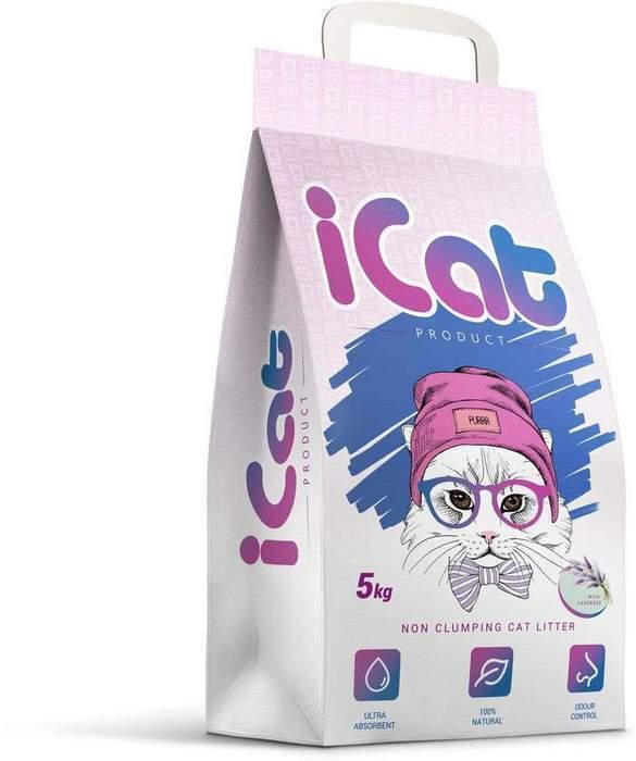 iCat впитывающий наполнитель для кошачьих туалетов, с ароматом лаванды 5 кг