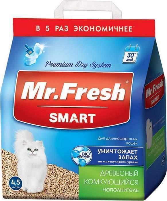 Mr.Fresh Smart древесный комкующийся наполнитель для кошек длинношерстных пород 18 л