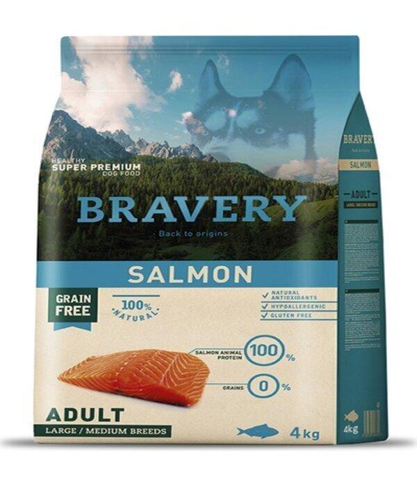 Bravery salmon adult large/medium breeds корм для собак Крупных и Средних пород Лосось 4кг