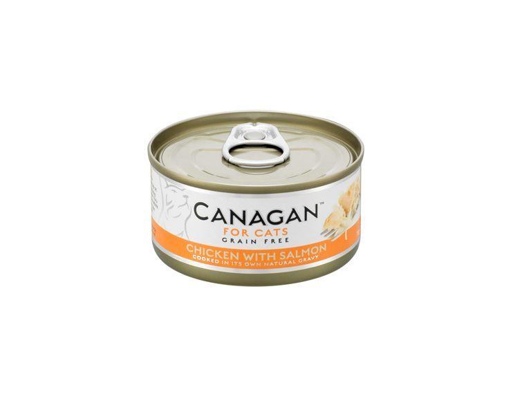 Canagan влажный корм для взрослых кошек всех пород, беззерновой, цыпленок и лосось 75 гр
