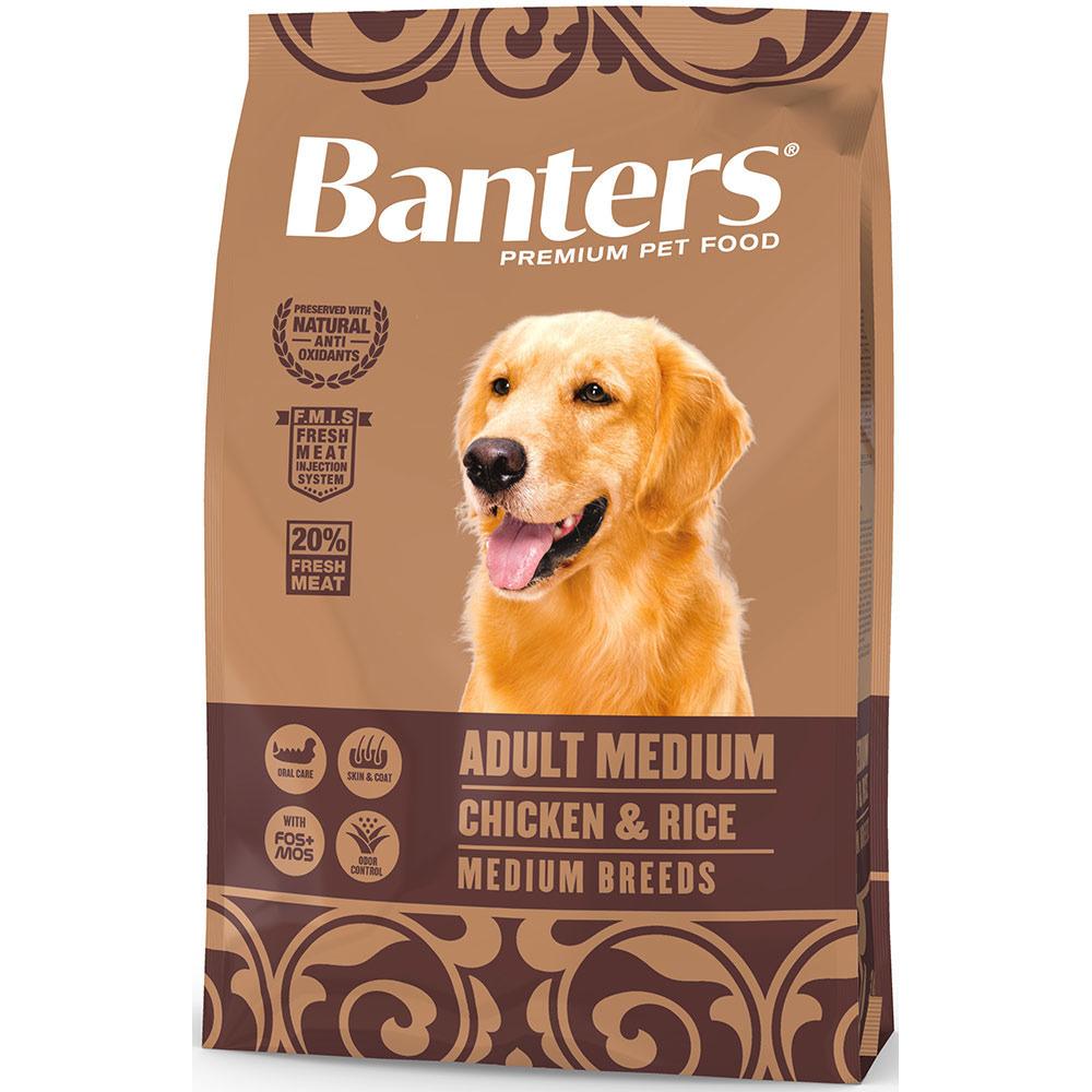 Banters корм для взрослых собак средних пород, курица и рис 3 кг