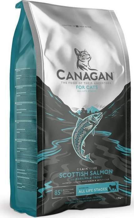 Canagan корм для котят и взрослых кошек всех пород, беззерновой, лосось 4 кг