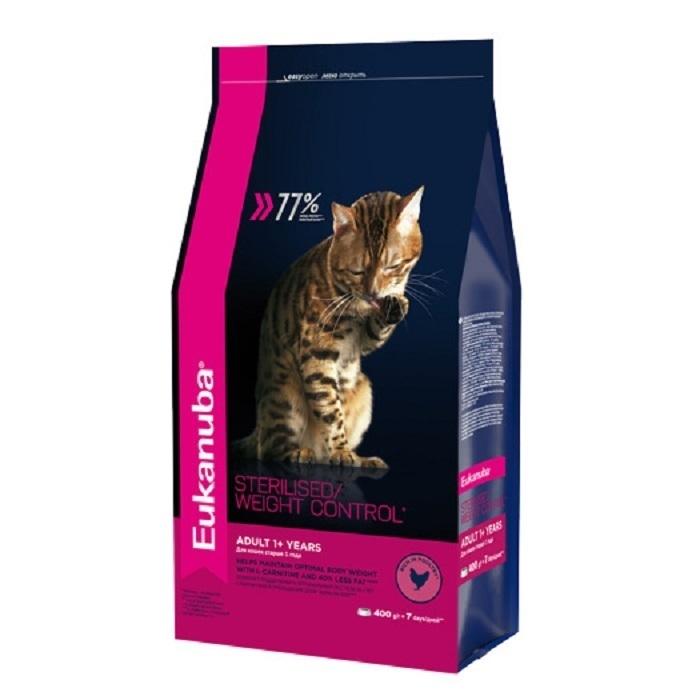 Eukanuba корм для взрослых кошек всех пород, контроль веса/стерилизованные, курица 400 гр