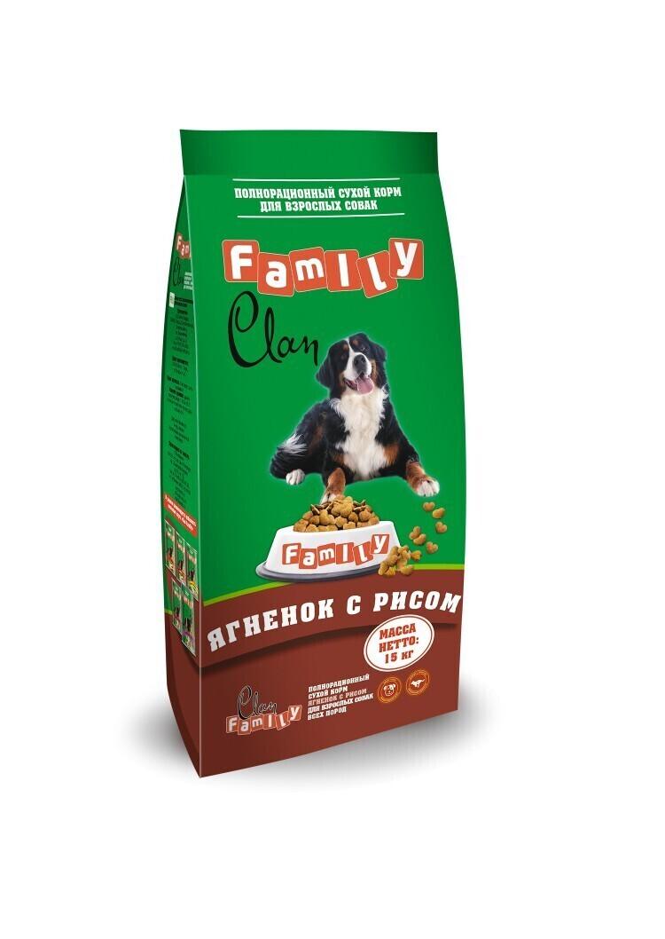 [130.2.025]  Clan Family сухой гипоаллергенный корм для взрослых собак Ягненокрис 15 кг