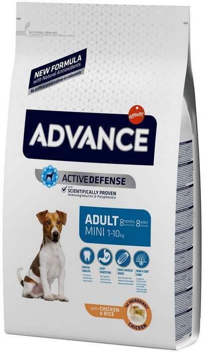 Advance корм для взрослых собак малых пород, курица и рис 3 кг