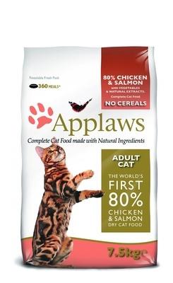 Applaws корм для взрослых кошек всех пород, беззерновой, курица, лосось и овощи 7,5 кг