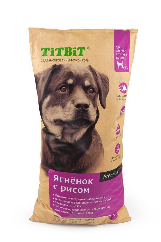 TiTBiT Сухой корм для щенков крупных пород ягненок с рисом (008331), 13,000 кг, 40669