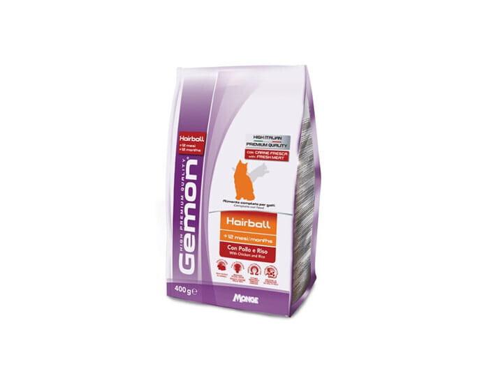 Gemon корм для взрослых кошек всех пород, вывод комков шерсти, курица и рис 400 гр