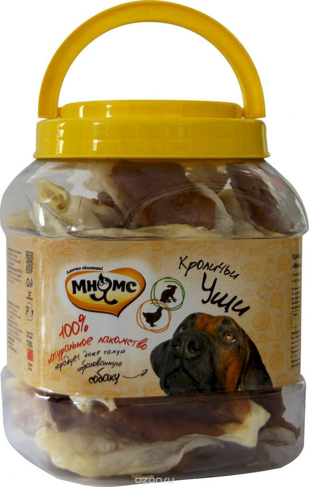 Мнямс лакомство для взрослых собак всех пород, кроличьи уши с куриным мясом 700 гр
