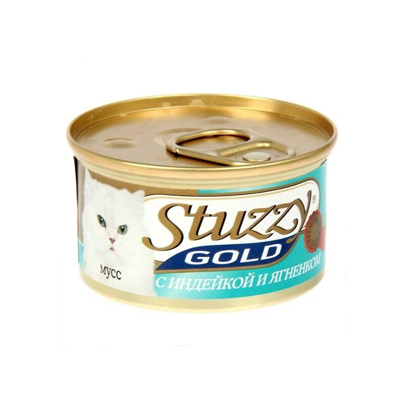 Stuzzy Gold влажный корм для взрослых кошек всех пород, мусс с индейкой и ягненком 85 гр