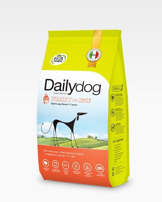 Dailydog ADULT LARGE BREED Turkey and Rice 3кг - корм для взрослых собак крупных пород с индейкой и рисом 3кг