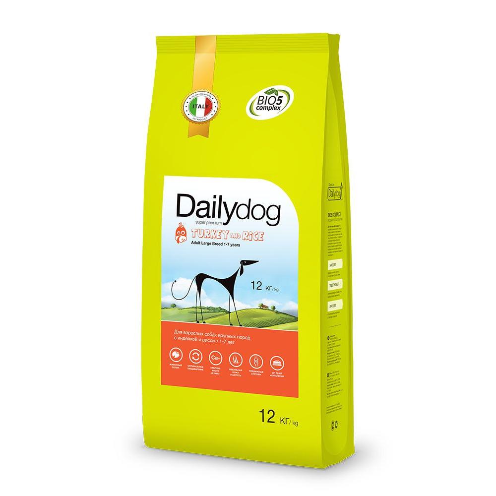 Dailydog ADULT LARGE BREED Turkey and Rice 12кг - корм для взрослых собак крупных пород с индейкой и рисом 12кг, 254ДД12
