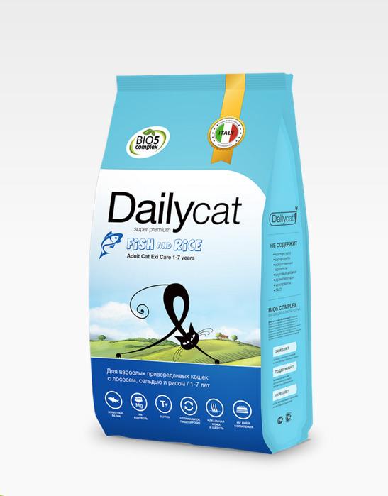 Dailycat ADULT Exi Care Fish and Rice 0,4кг - корм для взрослых привередливых кошек с рыбой и рисом 0,4кг