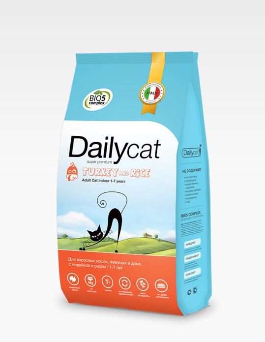 Dailycat ADULT Indoore Turkey and Rice 1,5кг - корм для взрослых домашних кошек с индейкой и рисом 1,5кг