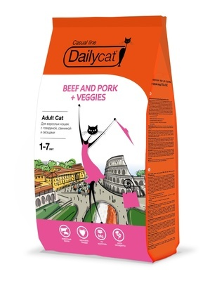 Dailycat Casual line ADULT Beef and Pork + Veggies 3кг - корм для взрослых кошек с говядиной, свининой и овощами 3кг