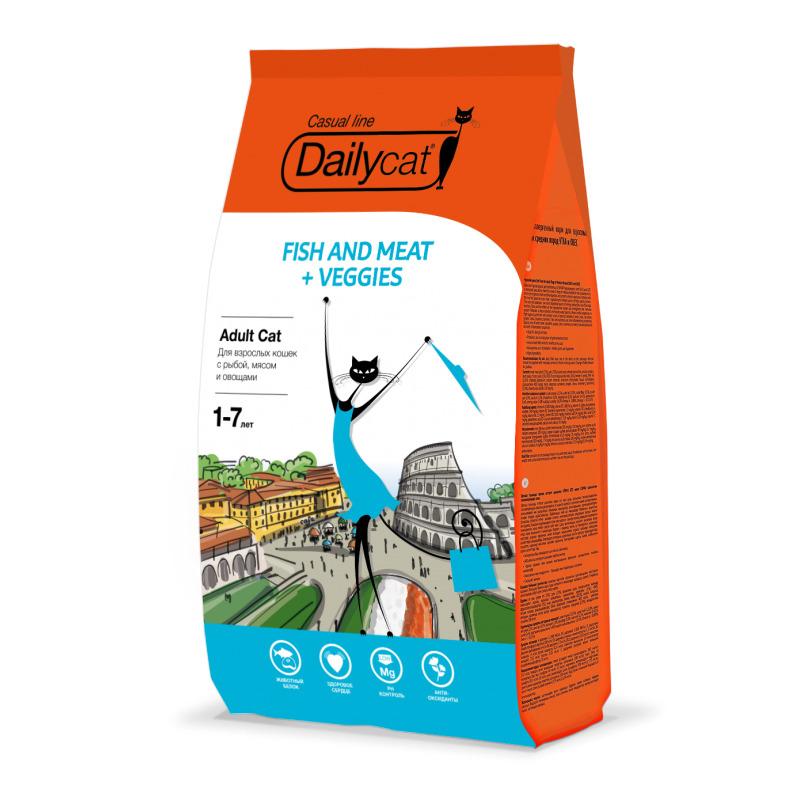Dailycat Casual line ADULT Fish and Meat + Veggies 3кг - корм для взрослых кошек с рыбой, мясом и овощами 3кг