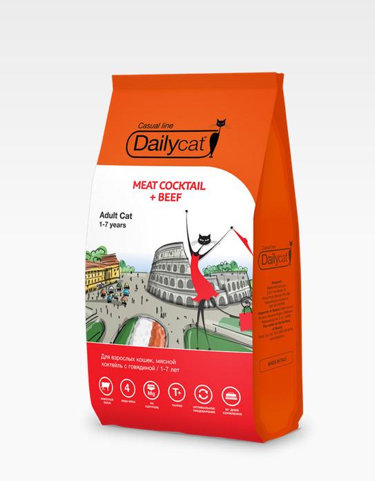 Dailycat Casual line ADULT Meat Cocktail + Beef 3кг - корм для взрослых кошек мясной коктейль с говядиной 3кг, 735ДКк3