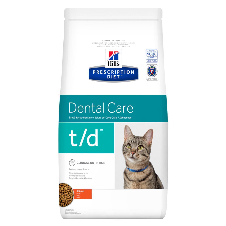 Hills Diet t/d корм для взрослых и пожилых кошек всех пород, заболевание полости рта, курица 1,5 кг