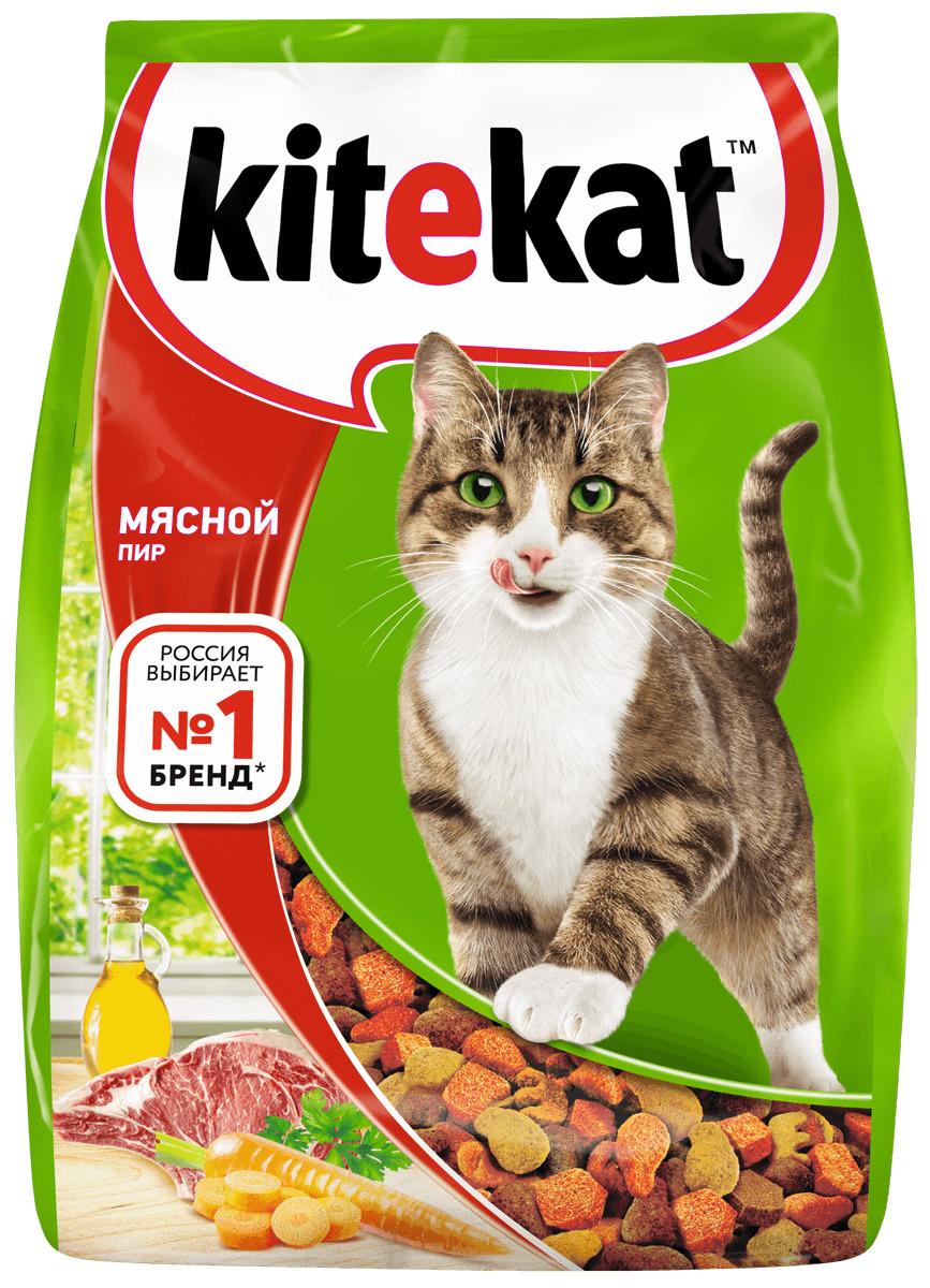 Kitekat корм для взрослых кошек, мясной пир 350 гр