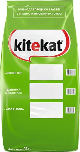 Kitekat корм для взрослых кошек, улов рыбака 15 кг