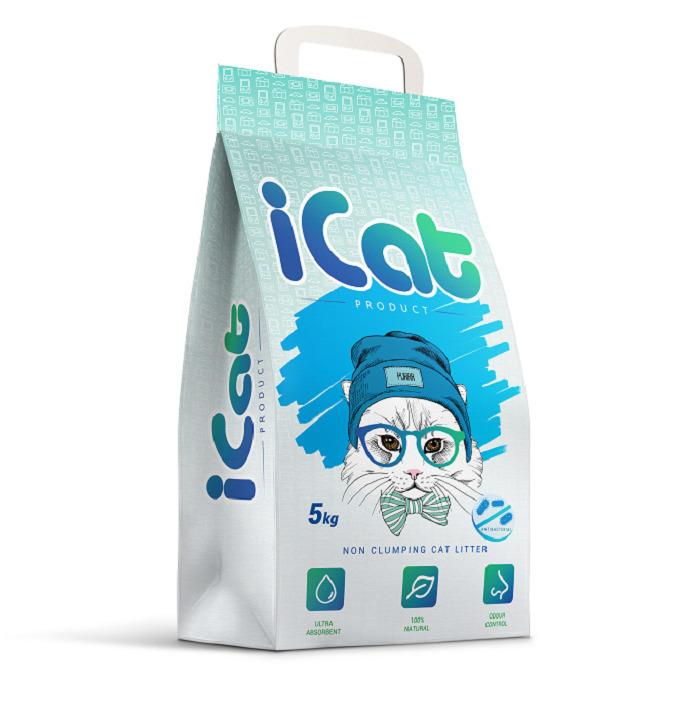 iCat впитывающий наполнитель для кошачьих туалетов, антибактериальный 5 кг