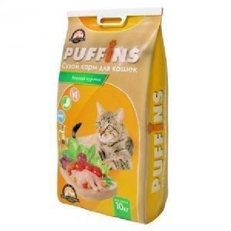 Puffins корм для кошек, Вкусная Курочка 10 кг