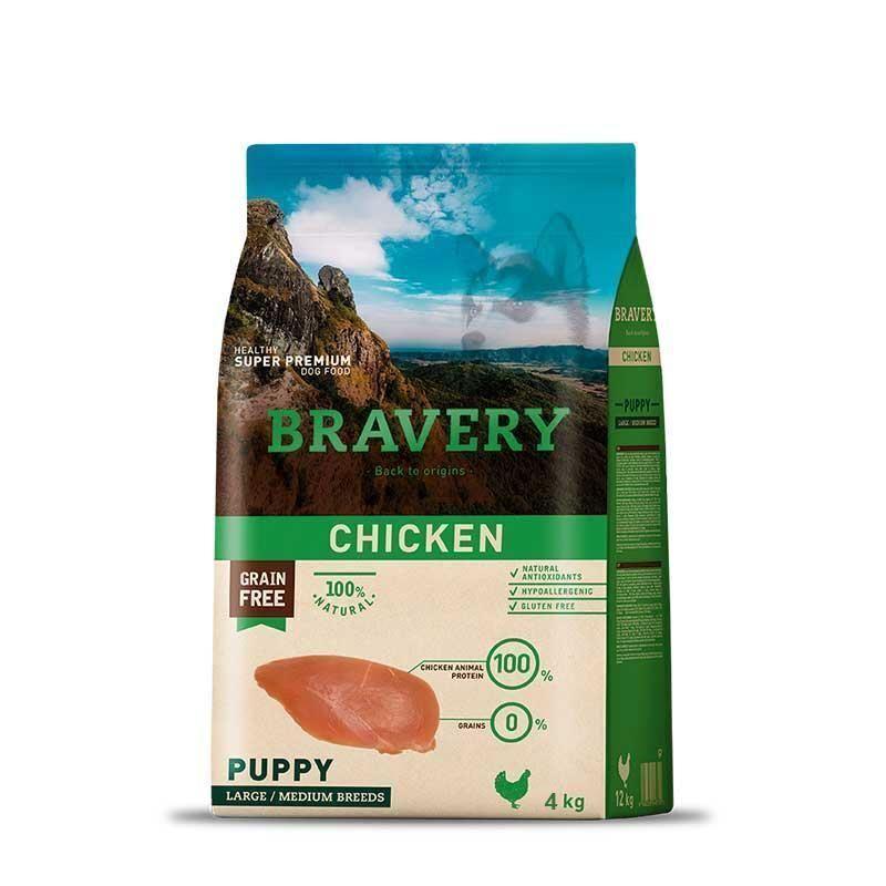 Bravery chicken puppy large/medium breeds корм для щенков Крупных и Средних пород Курица 4кг
