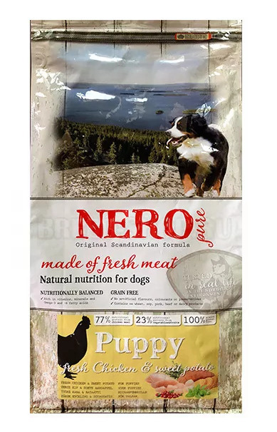 Nero Pure Беззерновой корм для щенков со свежим мясом курицы,  бататом и фруктами (Nero Pure Puppy with Fresh Chicken 12kg) 70431808, 12,000 кг, 43183