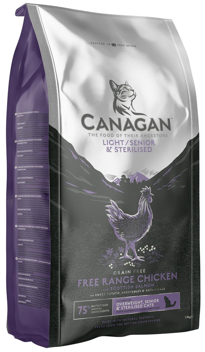 Canagan корм для пожилых стерилизованных кошек всех пород, беззерновой, цыпленок и лосось 375 гр