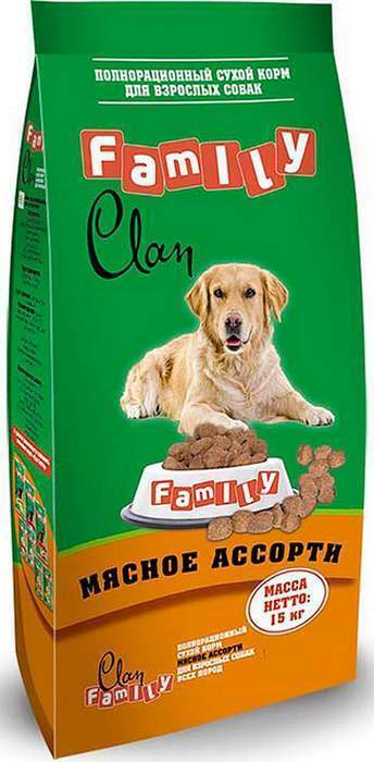 Clan Family корм для взрослых собак всех пород, мясное ассорти 15 кг
