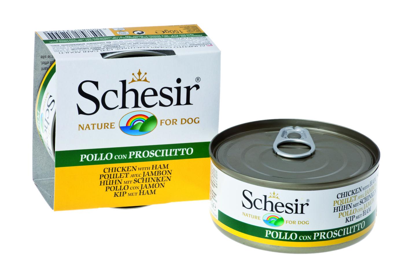 Schesir влажный корм для взрослых собак всех пород, цыпленок и ветчина 150 гр