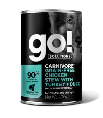 GO! влажный корм для собак, беззерновой, с тушеной курицей, индейкой и мясом утки 400 гр