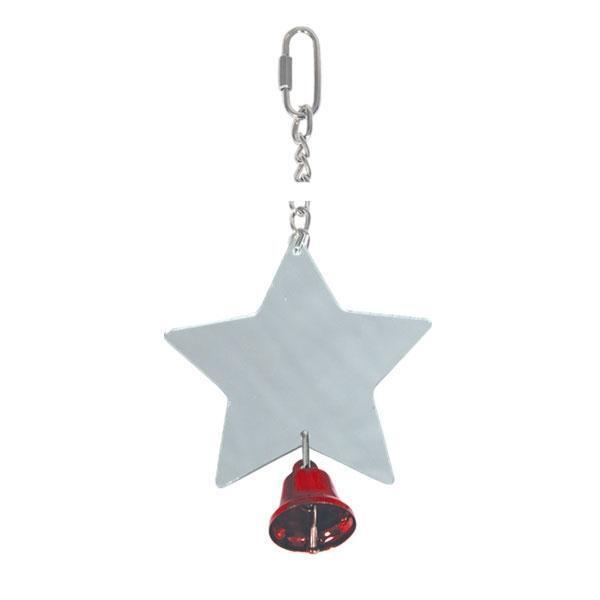 1005SY Игрушка для птиц Зеркальце-звёздочка на цепочке с колокольчиком, 9см