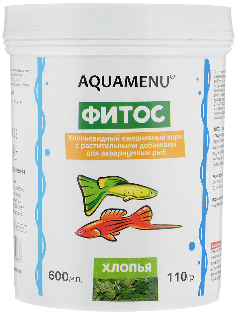 Корм ежедневный AQUAMENU Фитос 600 мл, хлопья с растительными добавками