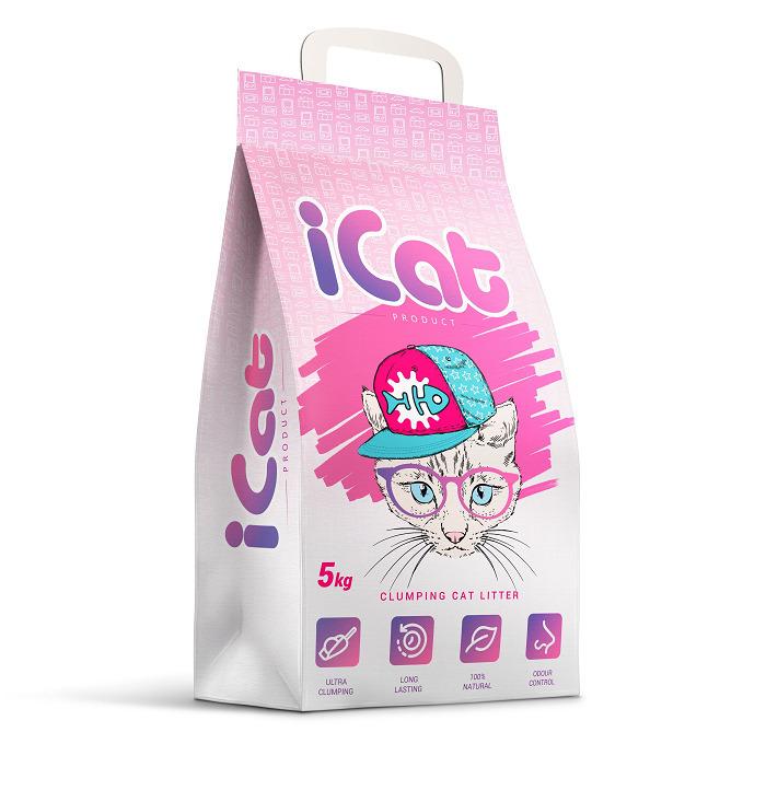 iCat комкующийся наполнитель для кошачьих туалетов, без ароматизатора 5 кг