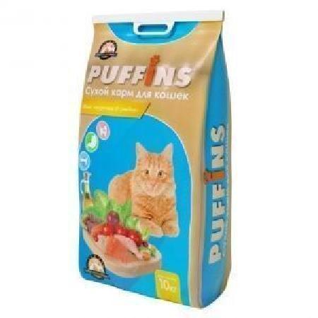 Puffins корм для кошек, Курочка и рыбка 10 кг