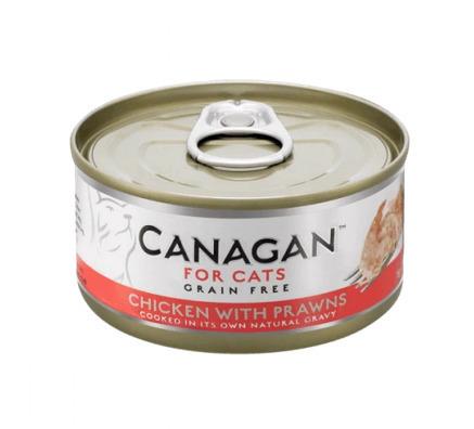 Canagan влажный корм для взрослых кошек всех пород, беззерновой, цыпленок и креветки 75 гр