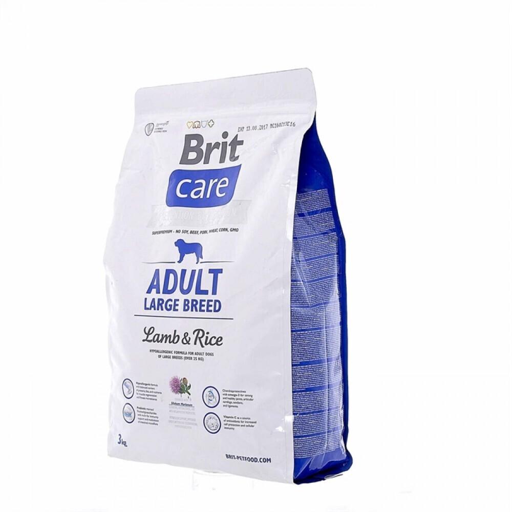 Brit Care корм для взрослых собак крупных пород, ягненок и рис 3 кг