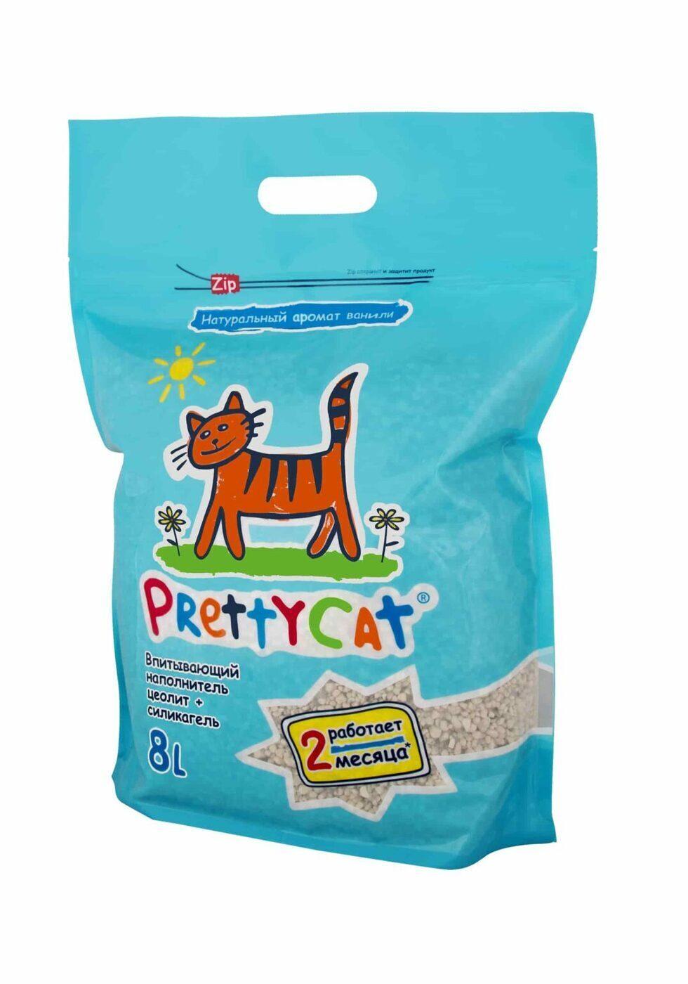 PrettyCat Aroma Fruit силикагелевый впитывающий наполнитель, цеолит + силикагель 4 кг