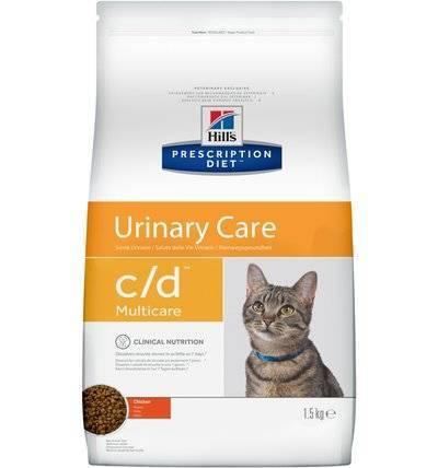 Hills Diet c/d корм для взрослых и пожилых кошек, профилактика МКБ (струвиты), курица 1,5 кг