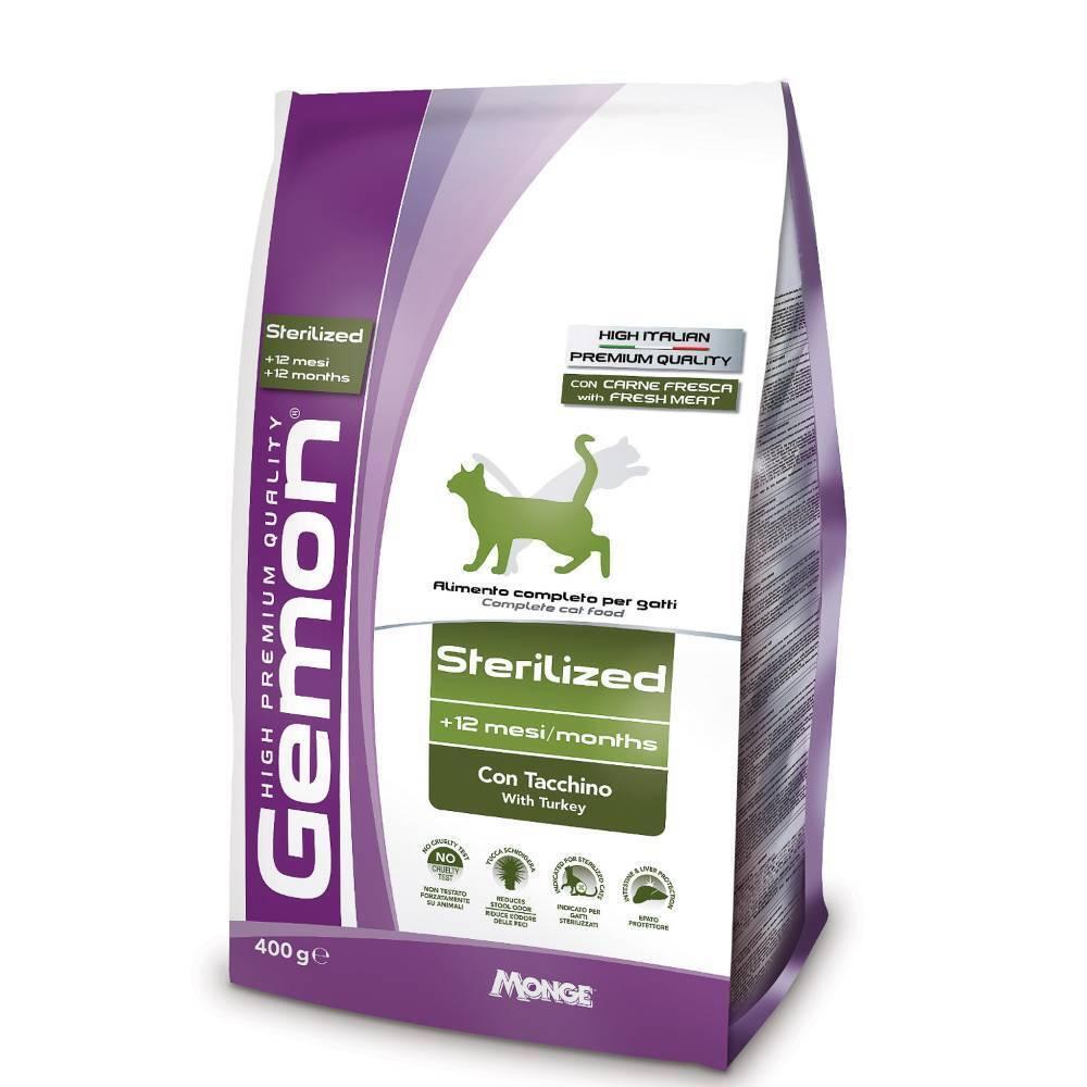 Gemon корм для взрослых стерилизованных кошек всех пород, индейка 400 гр