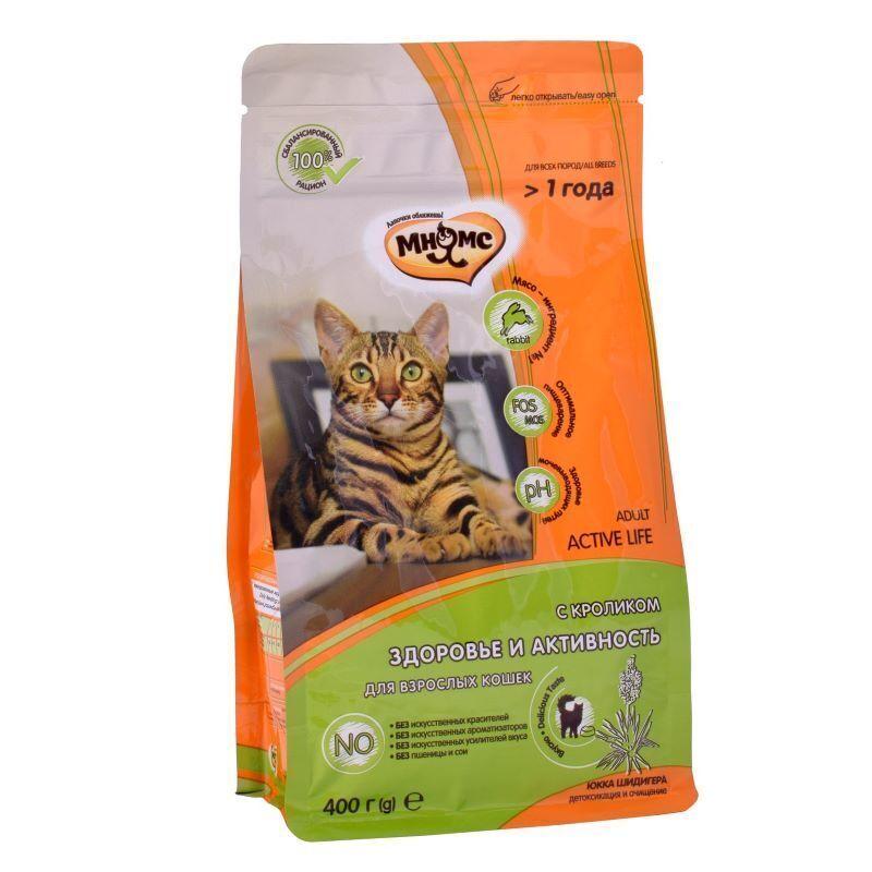 Мнямс корм для взрослых энергичных кошек всех пород, кролик и курица 400 гр