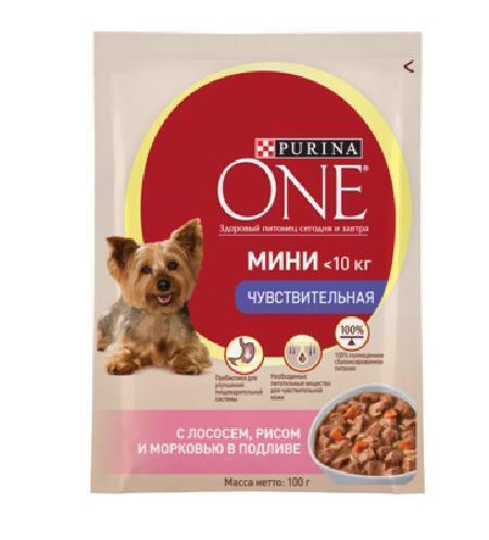Purina One Mini влажный корм для собак малых пород, чувствительное пищеварение, лосось, рис, морковь 100 гр