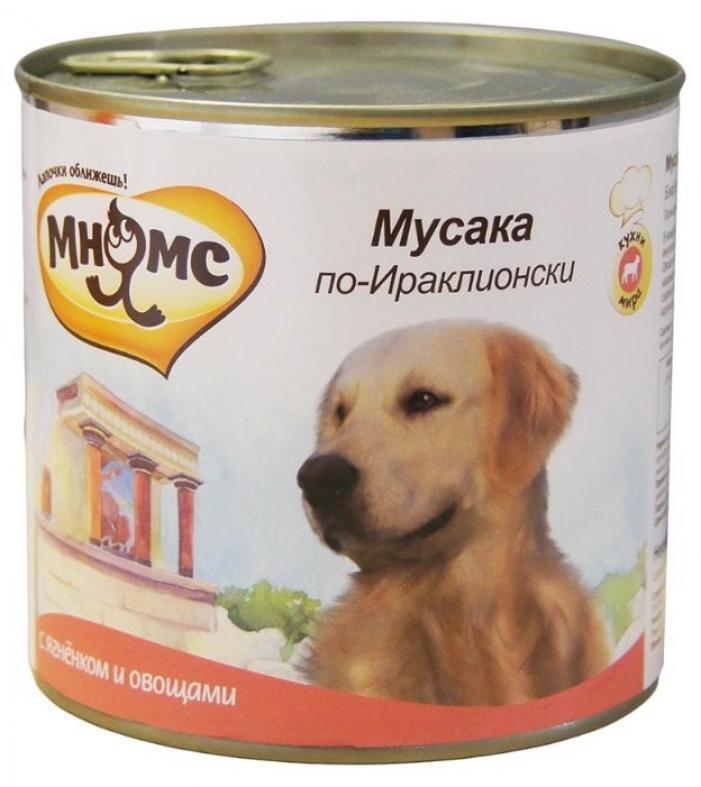 Мнямс влажный корм для взрослых собак всех пород, Мусака по-Ираклионски (ягненок с овощами) 600 гр