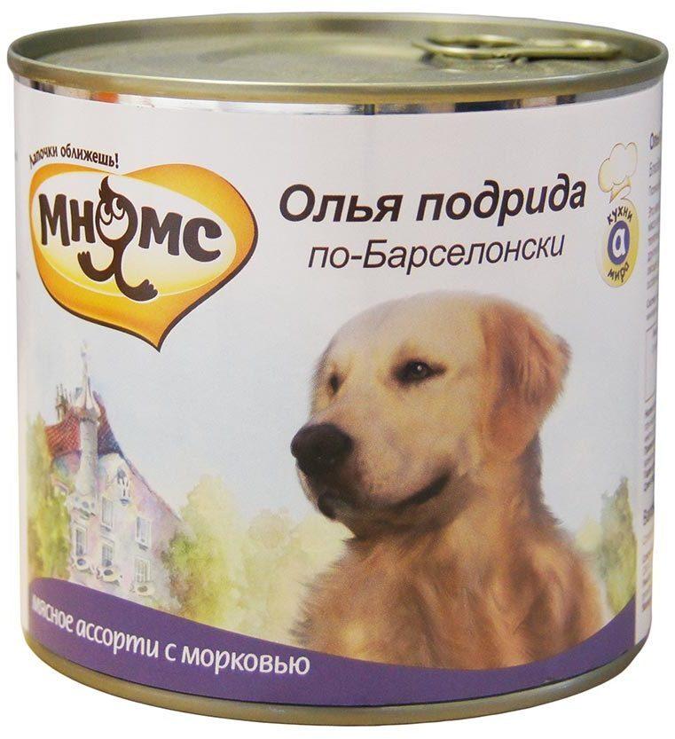 Мнямс влажный корм для взрослых собак, Олья Подрида по-Барселонски (мясное ассорти с морковью) 600 гр