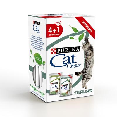 Cat Chow Набор 4+1 Паучи для стерилизованных кошек Кусочки в соусе с ягненком 12439919, 0,425 кг, 43287