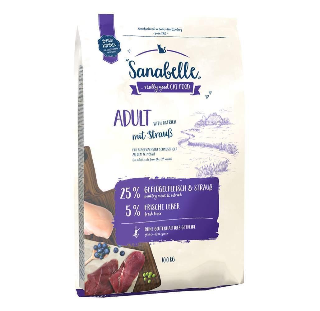 Sanabelle Adult корм для кошек с мясом страуса 10 кг